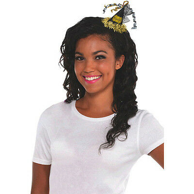 Happy New Year Black & Gold Hair Clip Hat Fancy Dress Costume Accessory