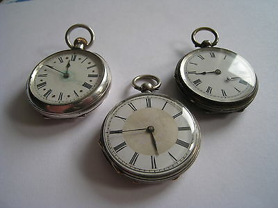 3 Vintage Silver Pocket Watches