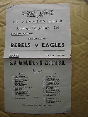 WWII EL ALAMEIN CLUB - single sheet announcing two sports fixtures 1 Jan 1944