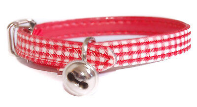 """Pet Palace """"Clothcat"""" Red Cat Collar with gingham tablecloth pattern"""