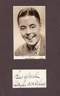 Douglas Wakefield, vintage hand signed photo & autograph book page in display