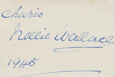 Nellie Wallace vintage hand signed card 1945, obscure James Bond film connection