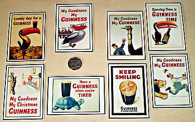 8 Printed Card Toppers - 10 x 7 cm - VINTAGE GUINNESS ADVERT POSTERS