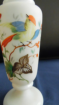 Antique opaque pale blue glass vase hand decorated with birds & flowers