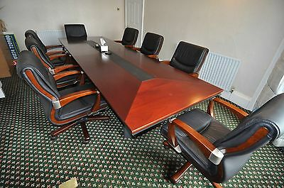 Executive Rectangular Shaped Boardroom Table with  Executive Leather Chairs