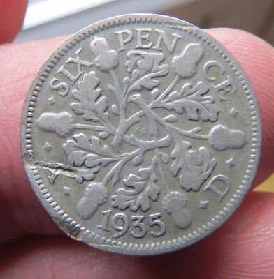 1935 Silver Sixpence George V th