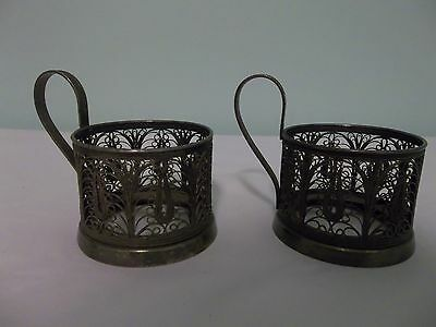 Vintage Antique Russian Filigree Tea Glass Cup Holders ~ Set of 2