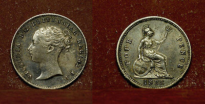 Great Britain -  Fourpence, Groat 1838, queen Victoria,  silver