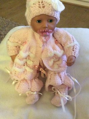 """Hand Knitted Doll Clothes To Fit 16-18"""" Baby Annabelle, Baby Born Size Doll"""