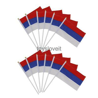"""12 PCS RUSSIAN Polyester Hand Waving Flags National Flag of Russia 8"""" X 5"""""""
