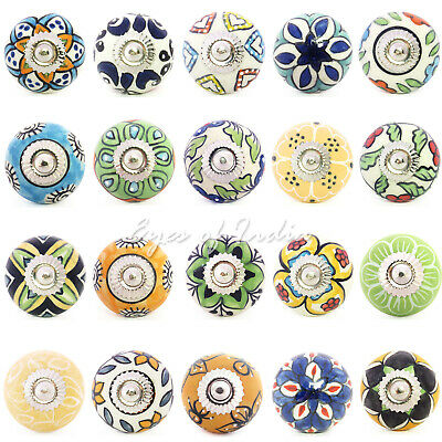 Yellow Green Blue Ceramic Cupboard Cabinet Dresser Door Knobs Pulls Shabby Chic