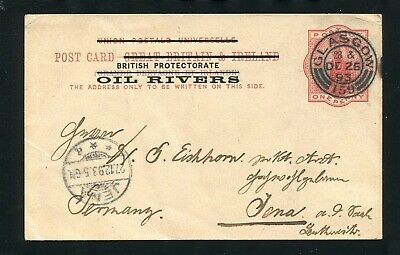 Niger Coast Great Britain Overprint Stationery Oil Rivers 1893 Christmas