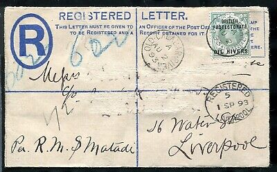 NIGERIA OIL RIVERS GREAT BRITAIN OVERPRINTS REGISTERED STATIONERY 1893 1st ISSUE