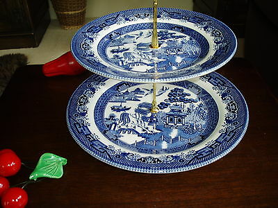 Blue Willow Pattern Double Cake Stand Gold or Sil metal fittings