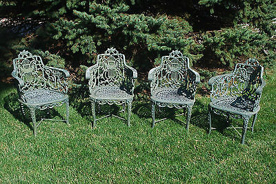 Rare Set of Four Antique Vintage Victorian Cast Iron Rose Garden Chairs Lot
