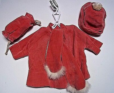 Vintage Handmade Doll Clothes Winter Coat 3 Piece Outfit