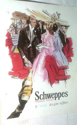 Vintage Schweppes Indian Tonic Water Original Ad In French