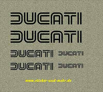 DUCATI double line writing Tank Die Cut Vinyl Decal Sticker Set w. 6 pieces Hor