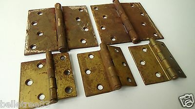 H20 5pc Lot of Vintage Brass Hinges Hardware Door Cabinet Box Metal Steel