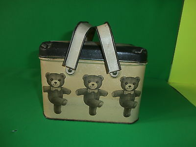 Vintage Children's Teddy Bear Tin Lunch Pail Box w/ 2 Handles