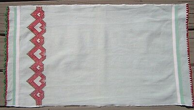 Vintage Green Swedish Huck Red and Green Embroidery Kitchen / Hand / Tea Towel