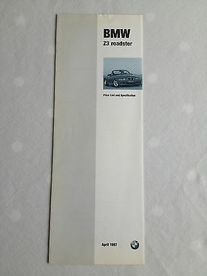 BMW Z3 Roadster Price List and Specification brochure April 1997