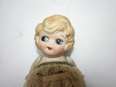 """Vintage Kewpie Face Doll All Bisque Japan Pretty Girl 6.5"""" Original Outfit 1930s"""