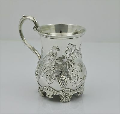 Victorian Solid Silver Embossed Christening Mug.George Richards . London 1856