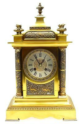 Carved Hunting Antique French Bronze Ormolu 8 Day Bell Striking Mantel Clock