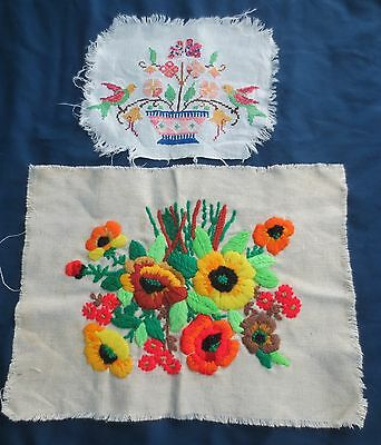 Vtg Finished FLOWERS Crewel Embroidery Picture Flower Basket + cross stitch bird