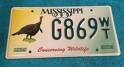 MISSISSIPPI Conserving Wildlife Turkey LICENSE PLATE - NOS - NEVER USED G869WT