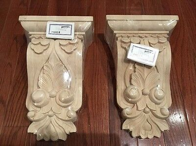 New Pair of Large Carved Solid Hard Wood Corbels ~ Acanthus Leaves Floral 10.5""