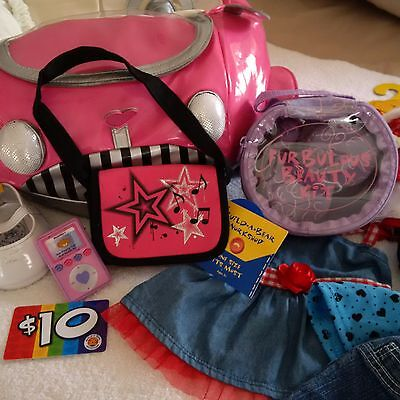 AUTHENTIC Build a Bear Lot PINK Car Clothes Shoes Accessories with $10 Gift Card
