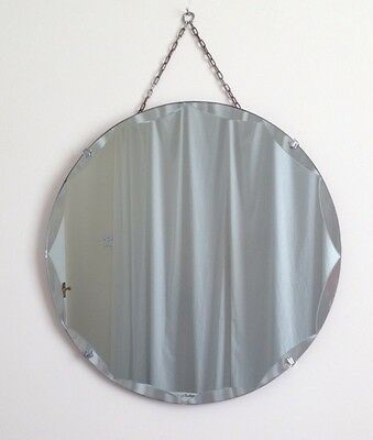 Vintage Art Deco Round Frameless Beveled Edge Hanging Wall Mirror With Chain