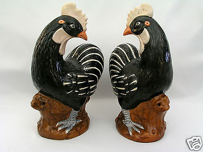 """Pair Chinese Export Stoneware 18"""" Cockerels / Roosters - Qing Style - Red Mark"""