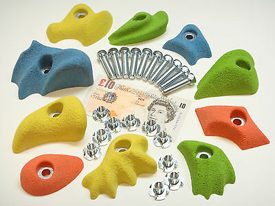 10x MIX COLOUR  BOLT-ON ROCK CLIMBING WALL HOLDS  SET ALL FIXINGS INC.