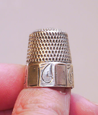 Antique Webster Co. paneled sterling thimble, size 12