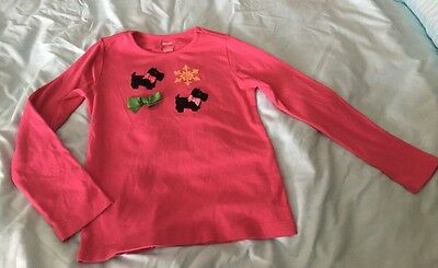 Gymboree Girls Winter Scotties And Snowflake Long Sleeve Shirt Size8 Pink