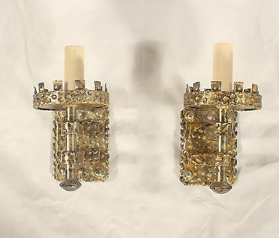 Set of 3 Antique Spanish Gothic Hand Hammered Silver Leaf with Gold Rub Sconces