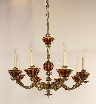 Antique Spanish 8 Light Bronze Chandelier w/ New Amber Czech Moser Glass Bobeche