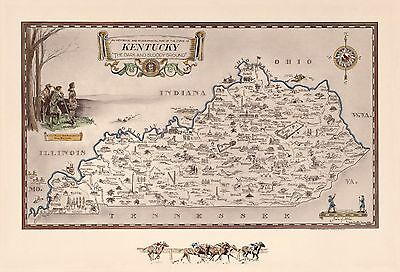 1939 pictorial map historical and geographical map state of Kentucky POSTER 8215