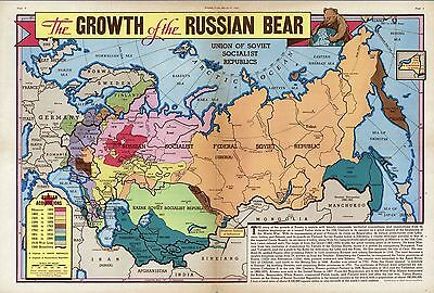 1940 PICTORIAL Map growth of the Russian Bear since 1462 POSTER 9927