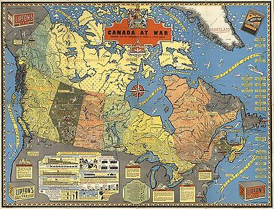 1944 PICTORIAL map Canada at war WWII World War 2 POSTER 8258000