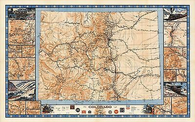 1943 pictorial map Colorado Railroads Trains detailed insets POSTER 8846003