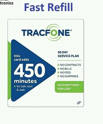 TracFone $79.99 Refill -- 450 Minutes/90 Days, Applied To Phone Directly