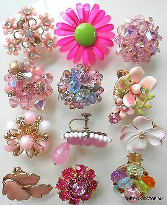 VINTAGE single EARRING 12pc LOT (Shades of PINK) some SIGNED PN4677
