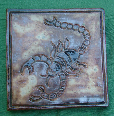 A Studio Pottery (Signed) Stoneware Heavy Thick Scorpion Tile