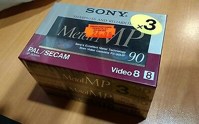 Sony Hi8 MP video 8 Cam Tapes/cassettes P5-90MP3-90 PAL Pack of 3 New & Sealed