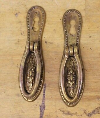 Pair of Georgian/Victorian-style Brass Escutcheons with Drop Handle Drawer Pulls