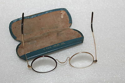 Vintage Spectacles Faux Tortoiseshell & Gold Coloured Frame & Case